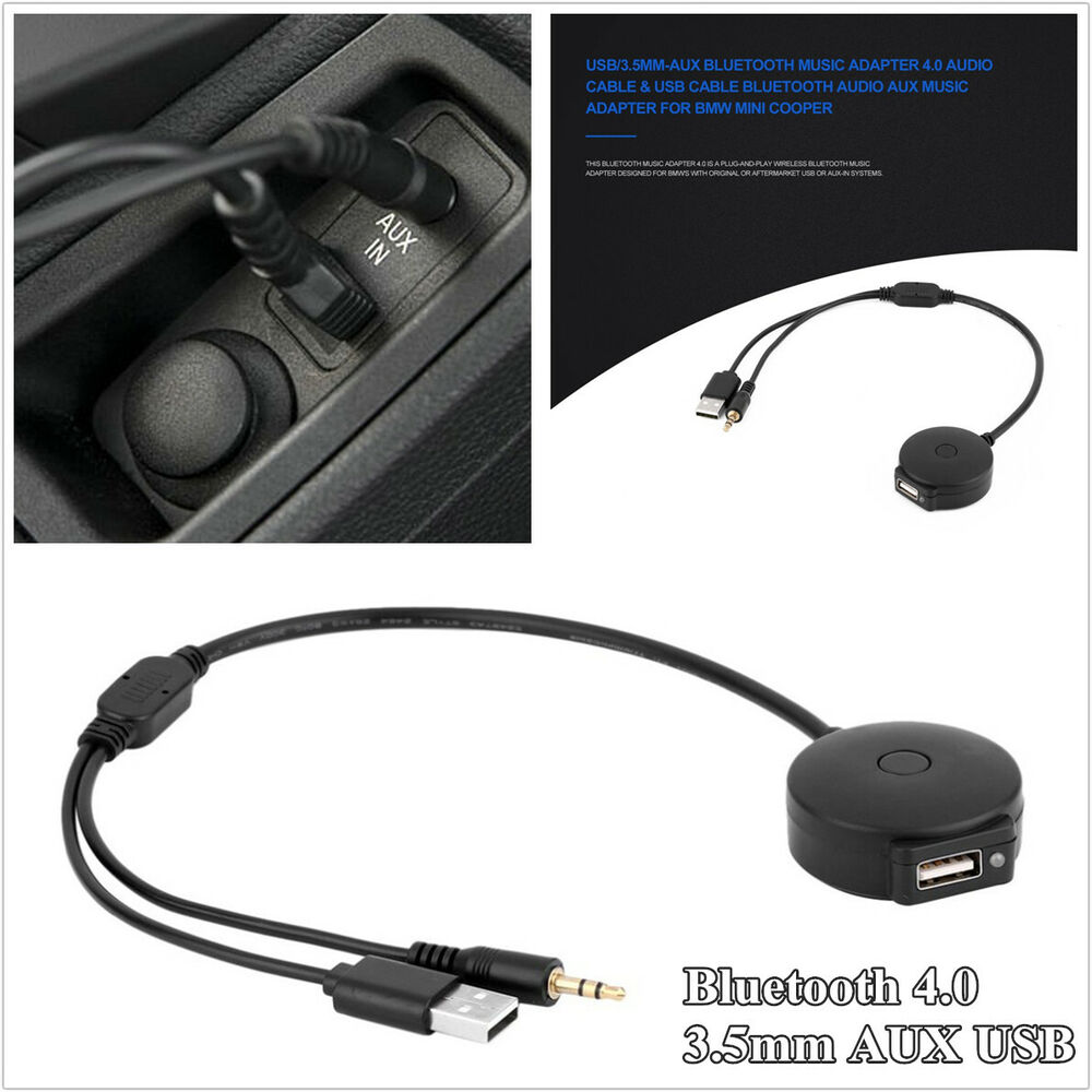 Car Bluetooth 4.0 3.5mm AUX USB Music Audio Adapter Cable