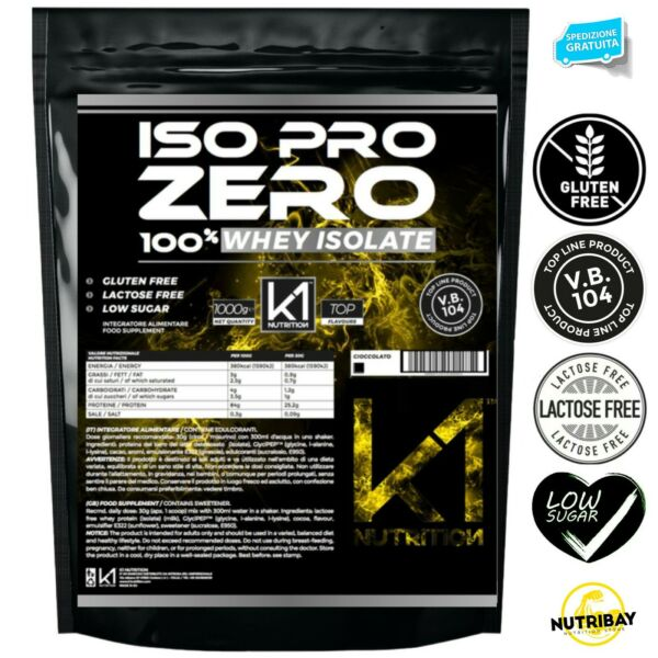 K1 Nutrition ISO PRO ZERO 1 Kg Proteine 100% Whey Isolate con Vb104