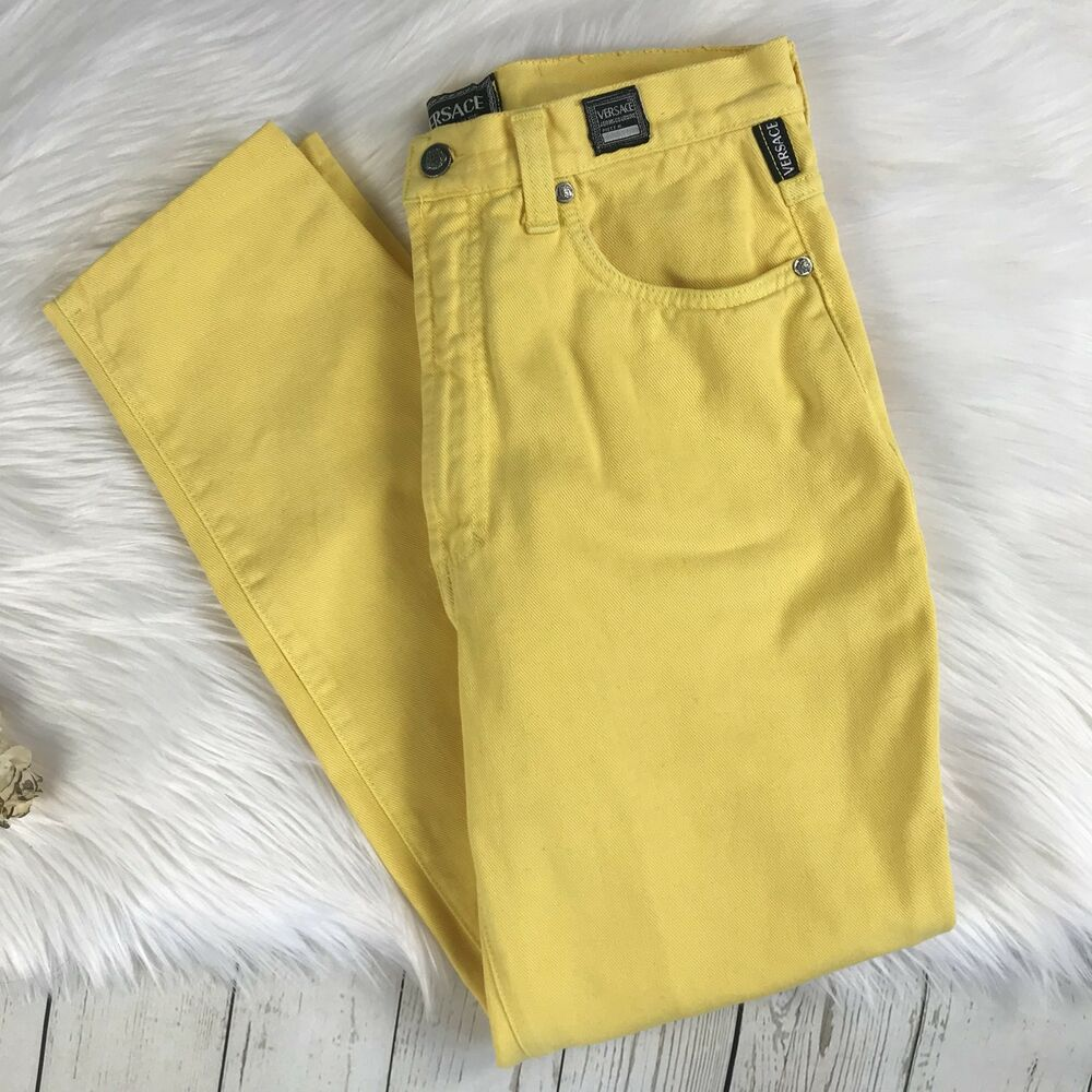 f970c99f46f14 Details about Vintage Gianni Versace Jeans Yellow Logos Mom Jeans GUC Small  Medium 26 28