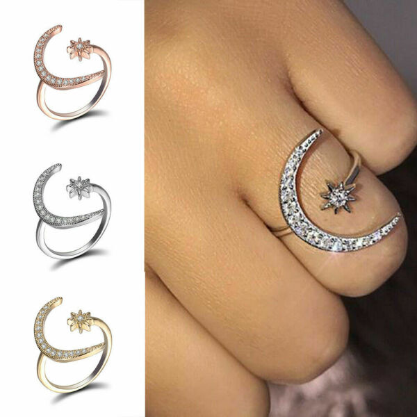 Adjustable Crescent Moon & Star Ring Silver White Sapphire Wedding Jewelry Gift