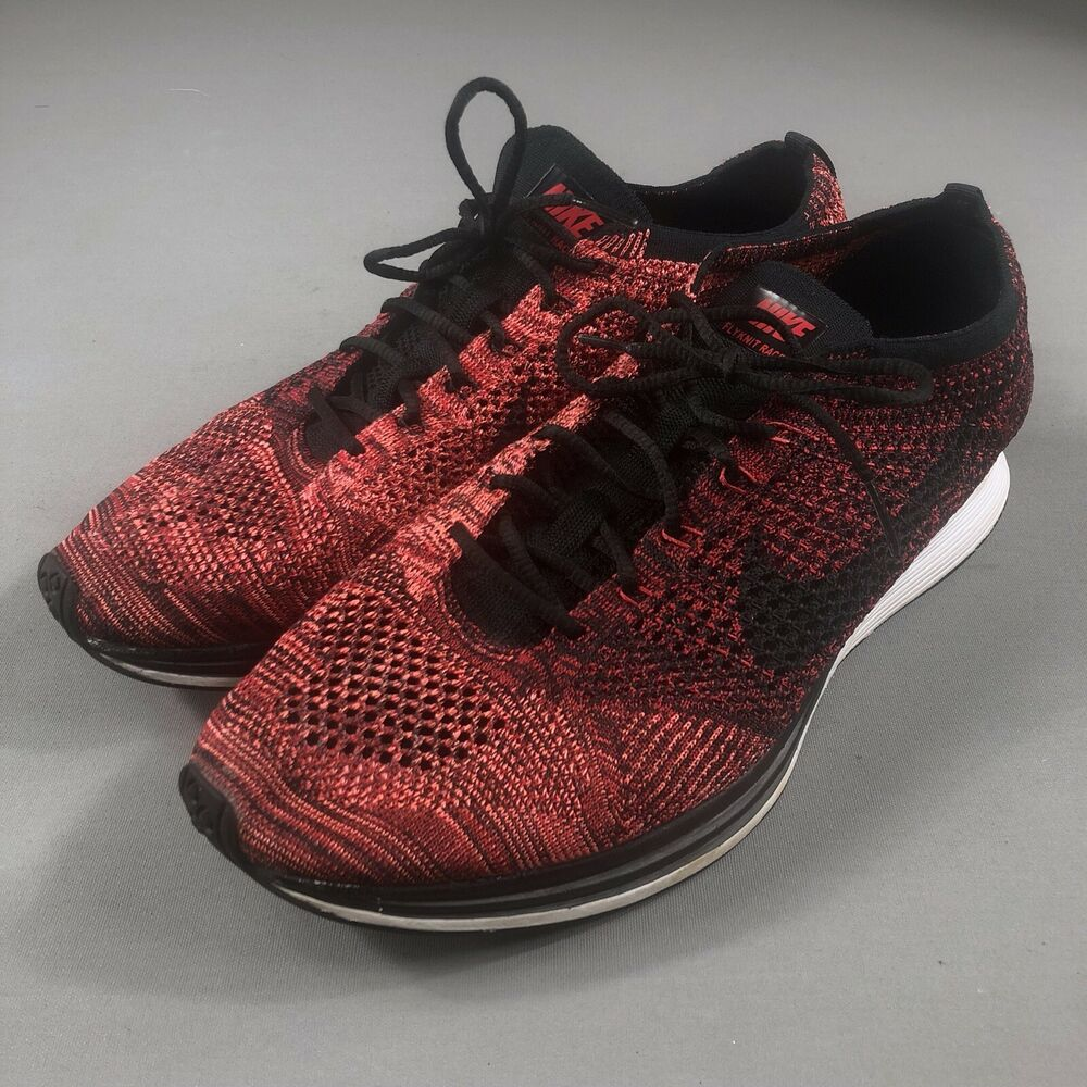 free shipping f2203 200a9 Details about Nike Flyknit Racer Size 13 University Red Rooster Black  Running Shoes 526628-608