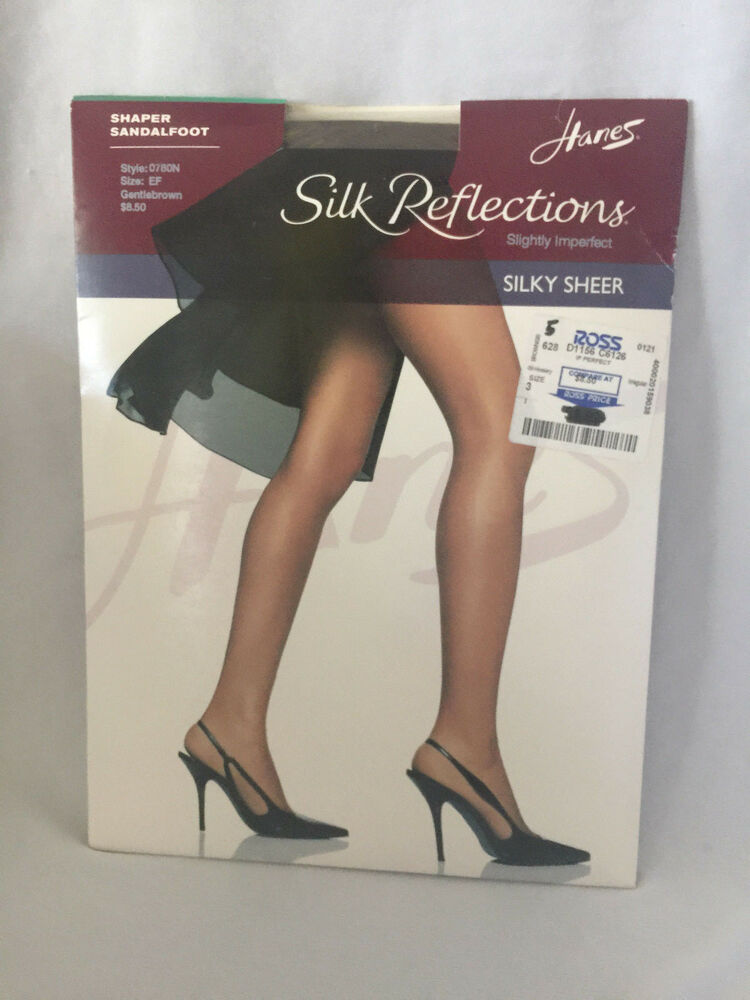 2cf0d8863bb18 Hanes Silk Reflection Pantyhose Shaper Sandalfoot GentleBrown SZ EF  Imperfect | eBay