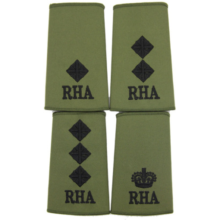 img-ROYAL HORSE ARTILLERY RHA OFFICERS BRITISH ARMY OLIVE & BLACK PCS RANK SLIDES