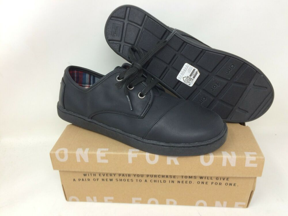 a441b7904cf New with Box!! Kid s Unisex Youth Toms Paseo Black Synthetic Leather ...