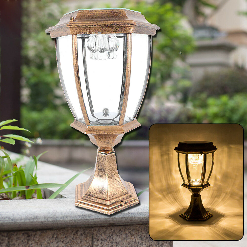 Details About Exterior Solar Lantern Lamp Led Pillar Light Energy Saving Landscape Top