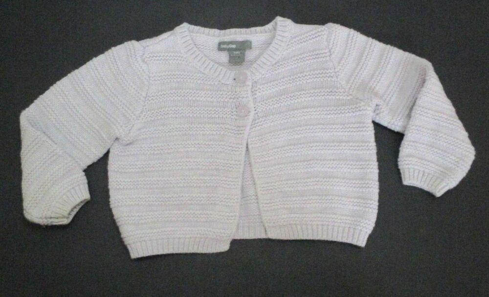 bb1e31348 INFANT GIRLS BABY GAP LAVENDER SQUIGGLE KNIT CARDIGAN SWEATER SIZE 6 ...