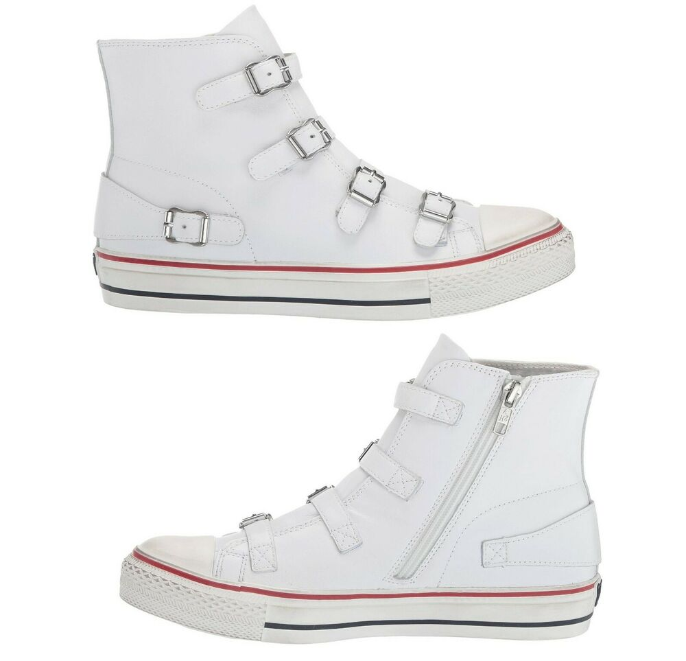 322586a52f22 Details about NEW ASH Virgin White Leather Women s Fashion High Top buckle  Sneaker Shoes Kicks