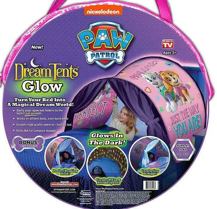 Paw Patrol Blue Or Pink Dream Tents Glow Twin Bed Pop Up