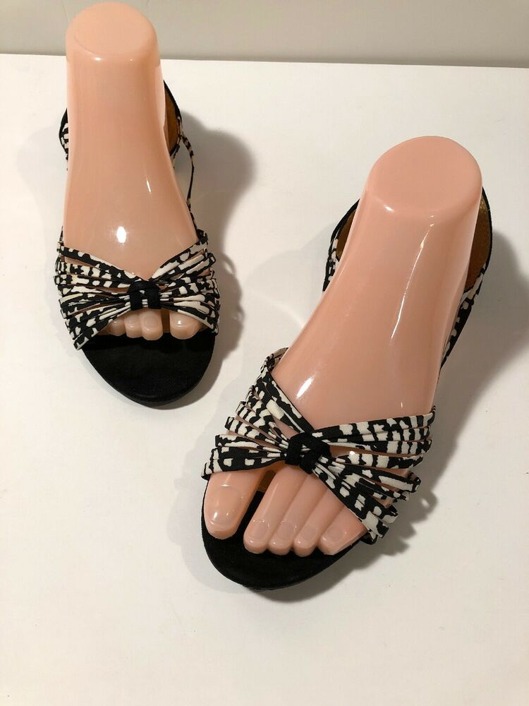 15170826475 Details about Charlotte Russe Black Strappy Sandals Size 9.5 Slip On Flats  Excellent Condition