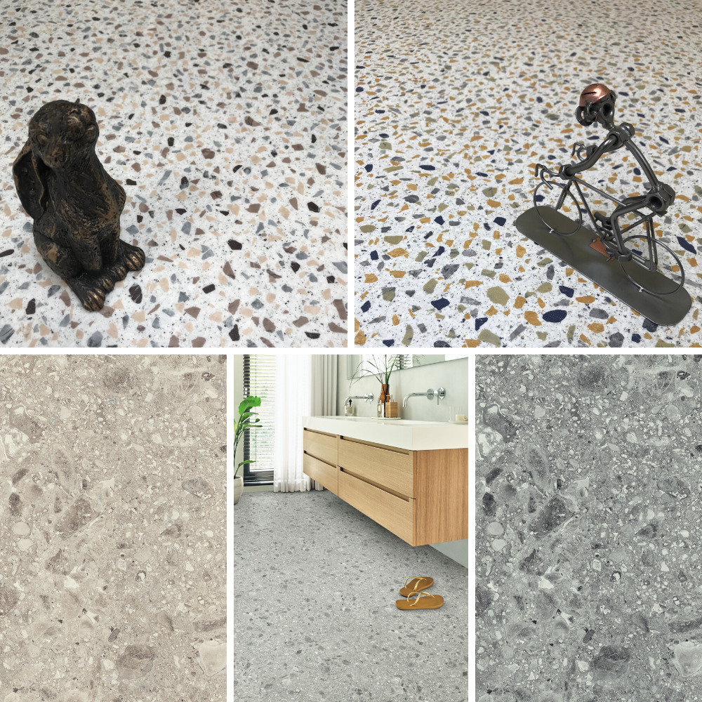 Terrazzo Cushioned Sheet Vinyl Flooring Granite Effect