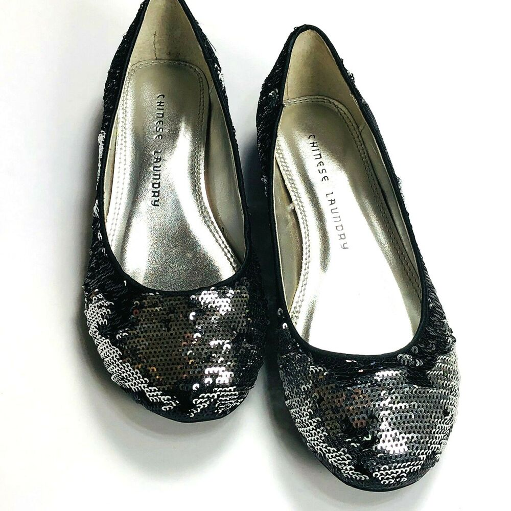 52e174bcd259 Details about Chinese Laundry Good Times Womens Shoes Size 5.5 M Black  Silver Sequin Flats