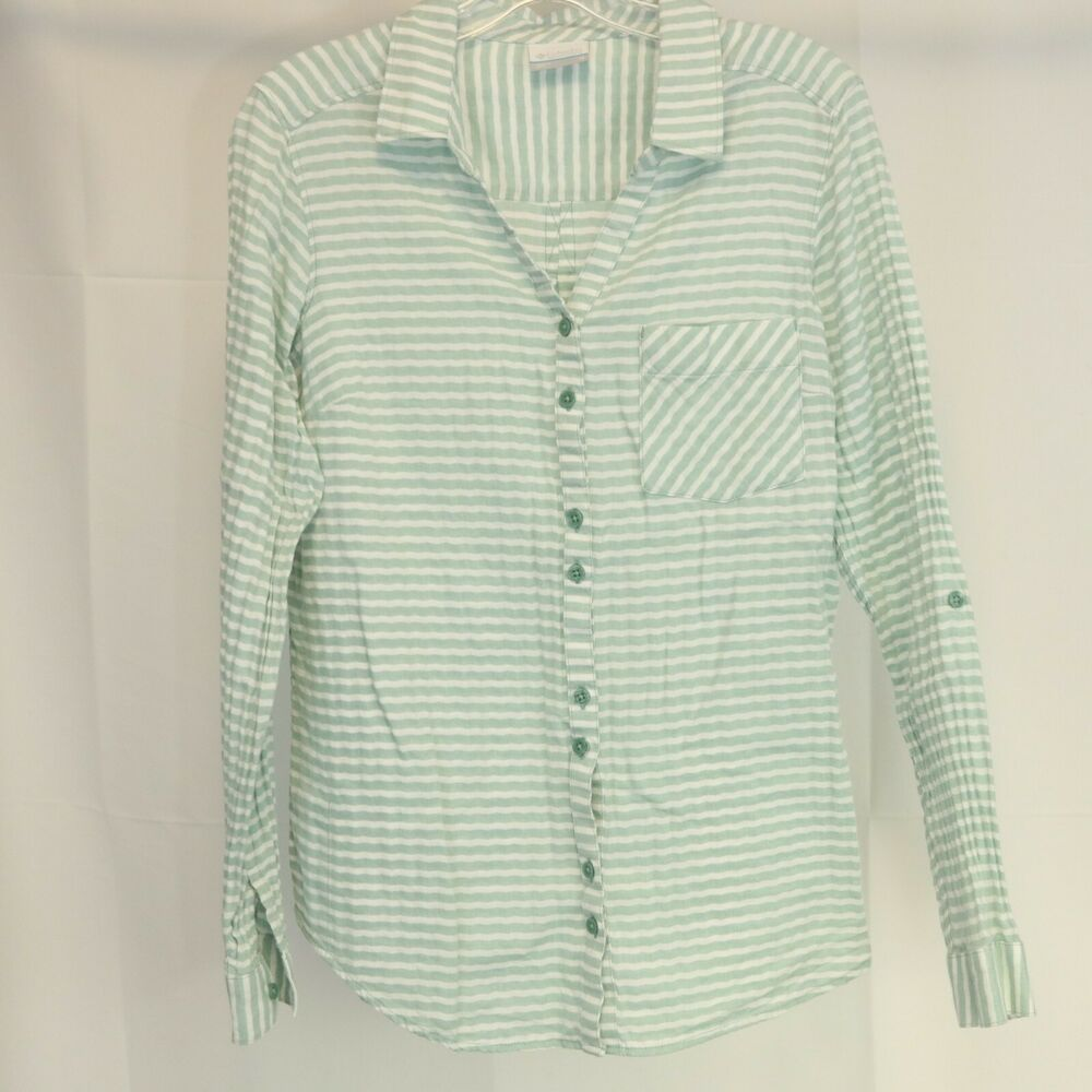 98376604a98 Details about Columbia Women s M Shirt Striped Roll Tab Sleeve Button Front  100% Cotton