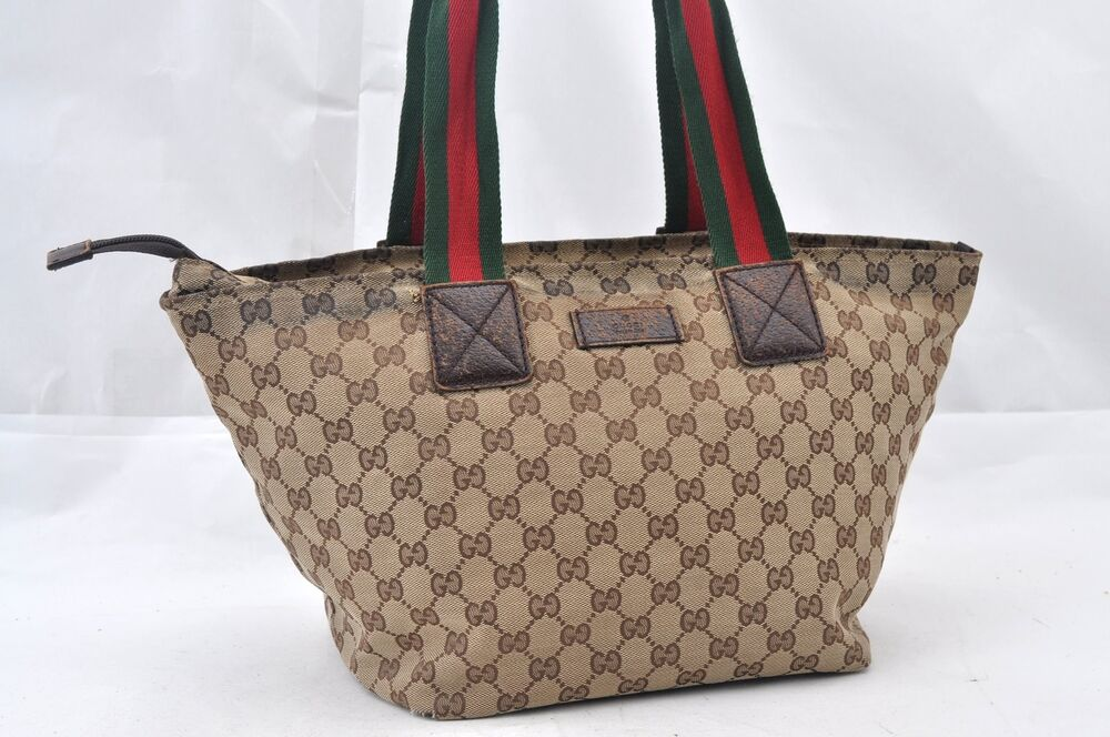 78ed8a7c0a6 Details about Authentic GUCCI GG Canvas Sherry Line Web Shoulder Tote Bag  Brown 63964