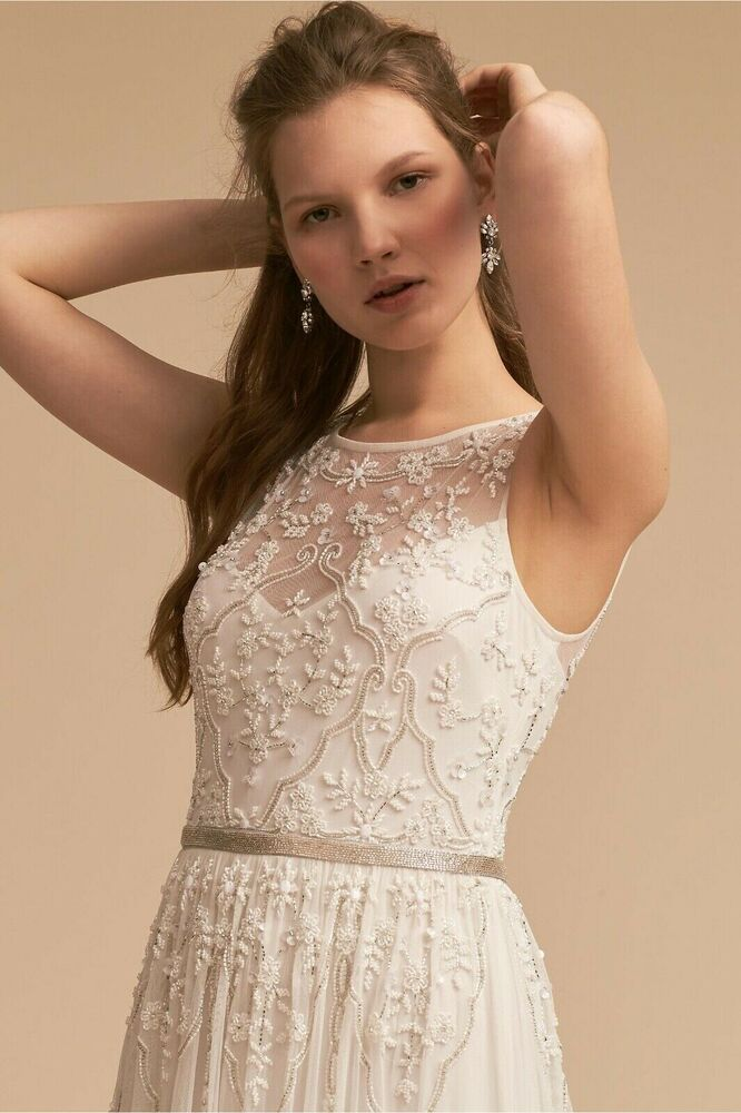 96f3f0aa5c4 ANTHROPOLOGIE NWT BHLDN Eliza EMBELLISHED FLORAL BEADED Ivory Sz. 2 Maxi  Dress