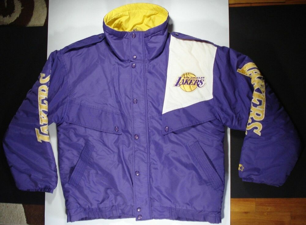 Vintage 90s Rare STARTER Los Angeles LAKERS Purple Puffer