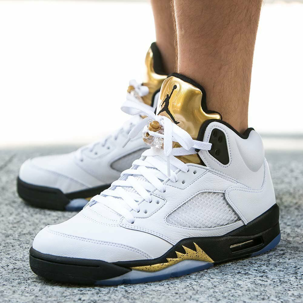 timeless design 6655c 7c559 Details about NIKE AIR JORDAN 5 RETRO OLYMPIC GOLD BLACK WHITE 136027 133  sz 15