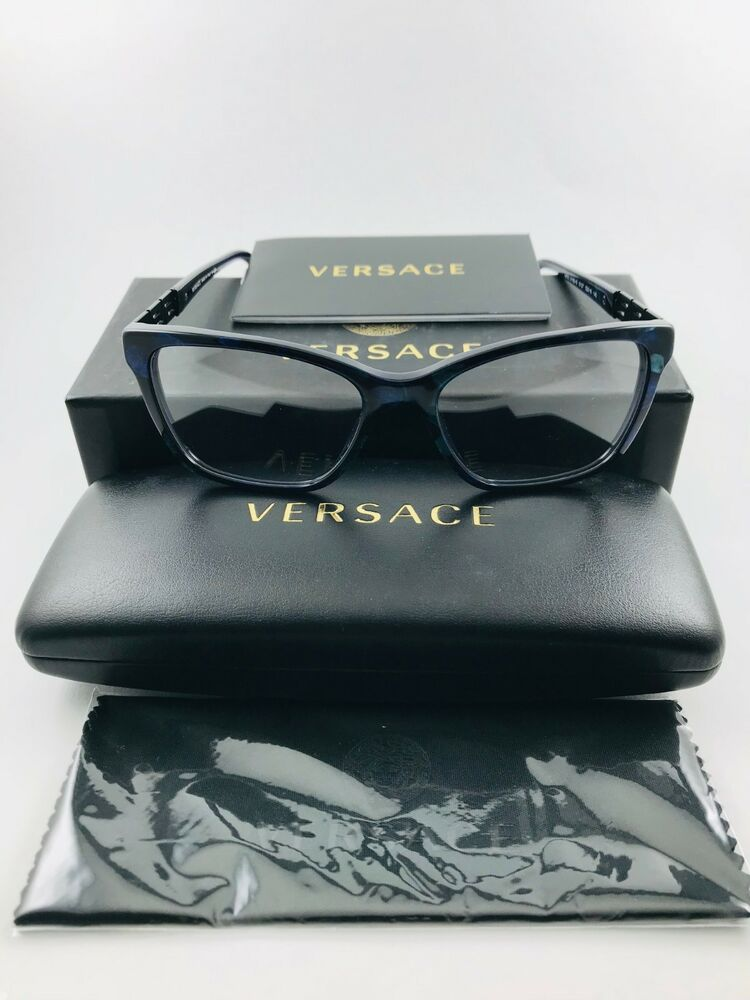 4ecff3afc688 New Auth VERSACE Eyeglasses 3192-B 5127 black blue marble crystals  52-17-140 NWT