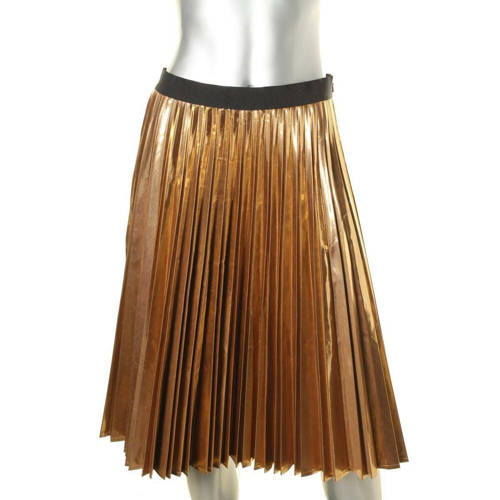 613d3b944e Details about NEW DKNY Metallic Gold Accordion Pleated A-line Skirt COUTURE  Size 2 XS NWT 25