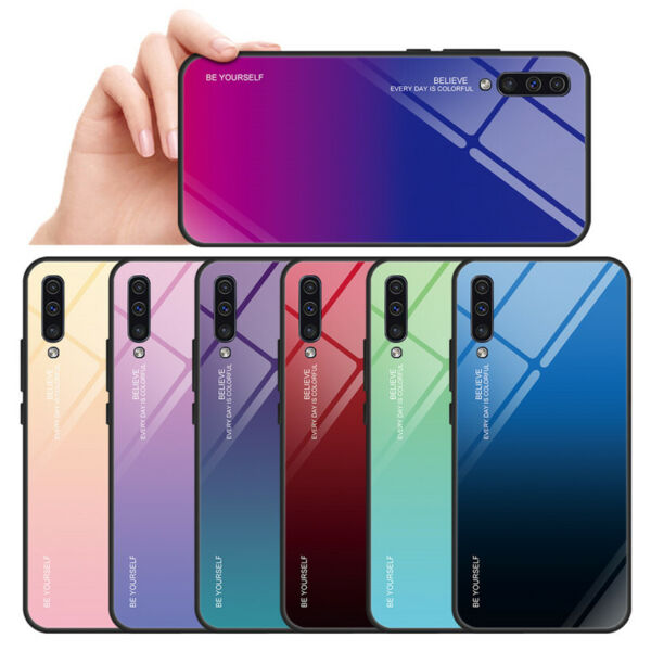 For Samsung Galaxy A70 A50 A40 A20E Gradient Glass Hybrid Hard Back Case Cover