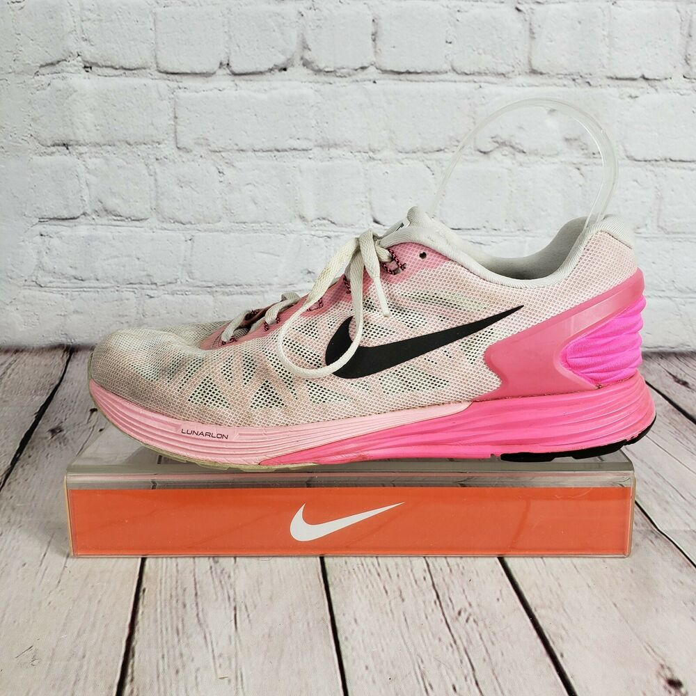 e00fcb76fe99a Details about Womens Nike Lunarglide 6 White Pink Running Shoes Sneaker  Size 8 EU 39