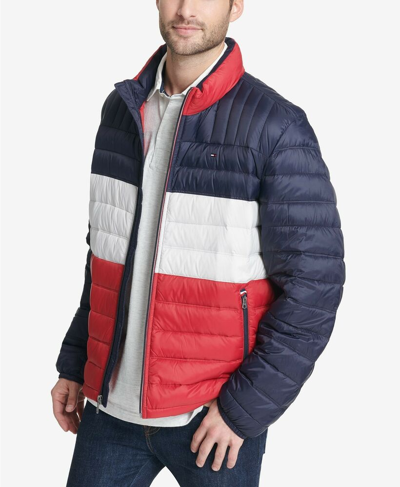 Tommy Hilfiger Mens Packable Puffer Jacket Coat Red White ...