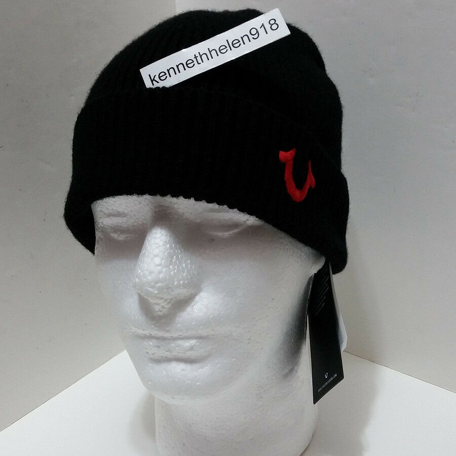 1da02f145e Details about TRUE RELIGION MENS RIBBED KNIT WATCHCAP BEANIE HAT BLACK TRUE  RED ONE SIZE