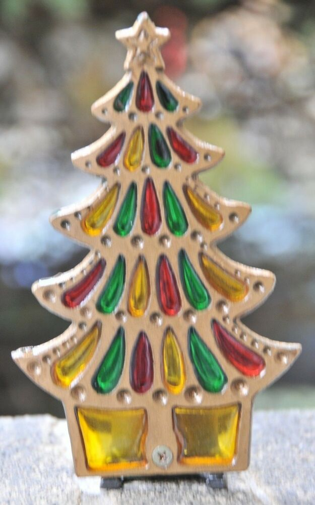 Vintage Stained Glass Cast Iron Christmas Tree Candle Holder Ebay