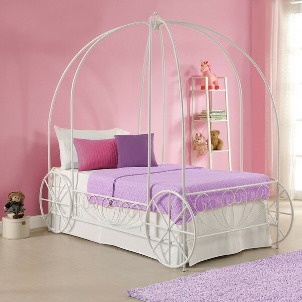 Details About White Twin Metal Carriage Canopy Bed Frame Home Living Bedroom  Girls Furniture
