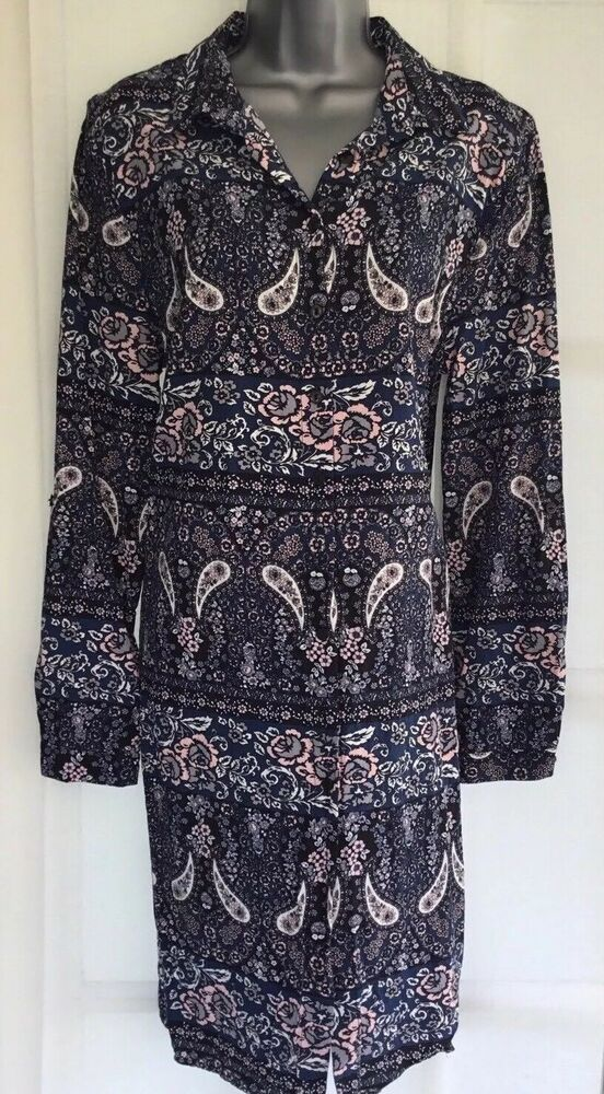 be586caa0c APRICOT 14 L Tall Vgc blue pink floral paisley longline shirt dress tunic  blouse