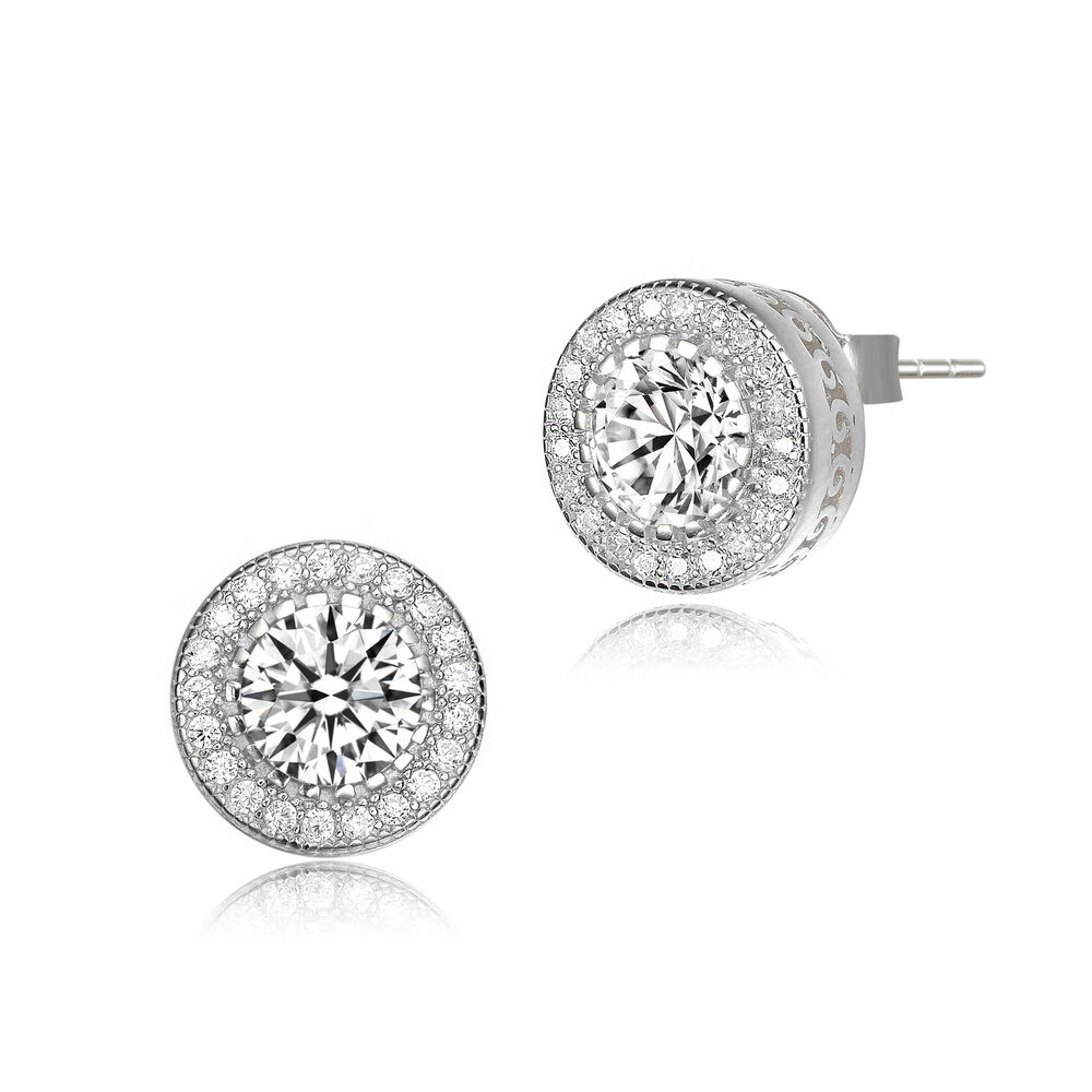 1e7de94e6 Details about Rozzato Sterling Silver with Rhodium Plated Clear Round CZ  Halo Stud Earrings