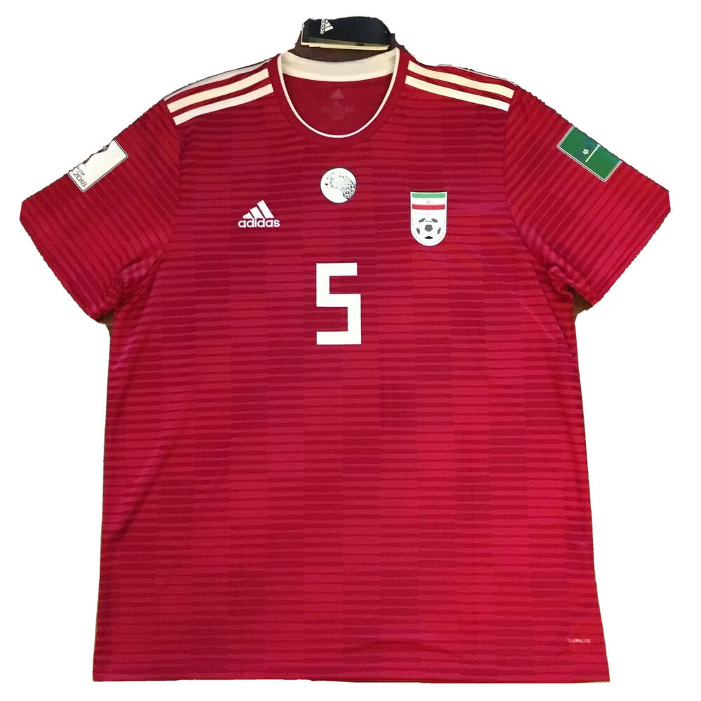 ca191b3c85a Details about 2018 Iran Away Jersey  5 Milad Mohammadi XL Adidas World Cup  Patches Shirt NEW