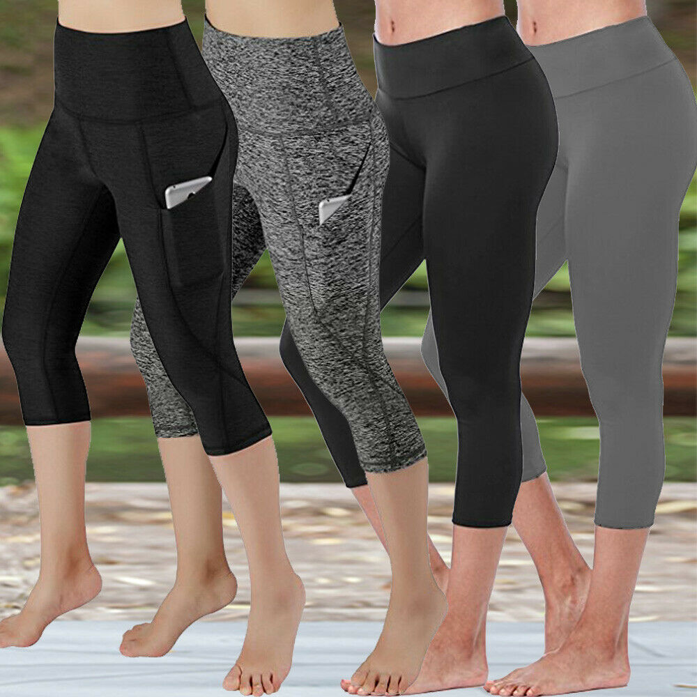 d3d72cbe8f2417 Details about Womens Yoga Pants Athletic Stretch Fitness Workout Capri  Leggings With Pocket Q1
