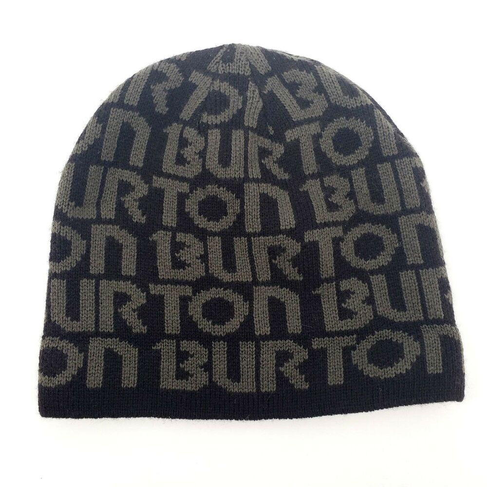 013c3175e86 Details about Burton Mens Winter Hat Beanie Snowboarding Ski Cap Black  Brown Spell Out