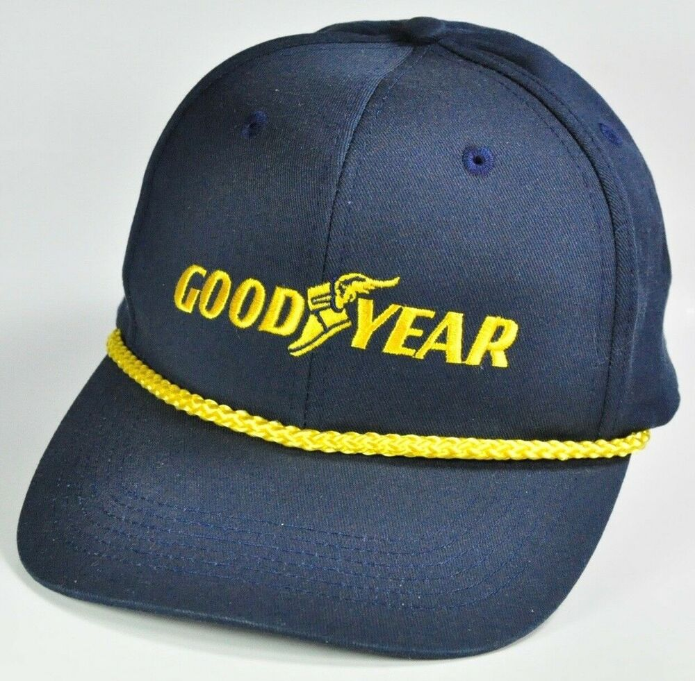 30a7107b616 Details about GOODYEAR AUTOMOTIVE TIRES NAVY BLUE GOLD TRIM SNAP BACK HAT  BALL CAP