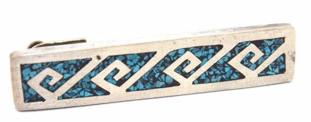 26bf0c51f0d5 Details about SIGNED Vtg TAXCO Modernist TRIBAL Sterling Silver TURQUOISE  INLAY Tie Bar Clip