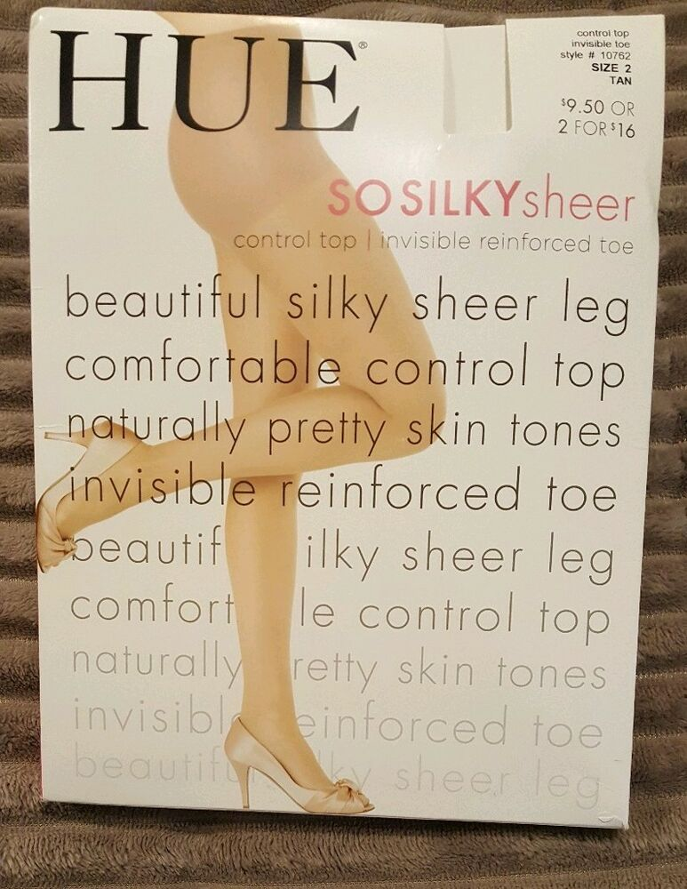 72cbe8875be HUE SO SILKY SHEER Control Top reinforced Toe Pantyhose TAN Size 2 ...