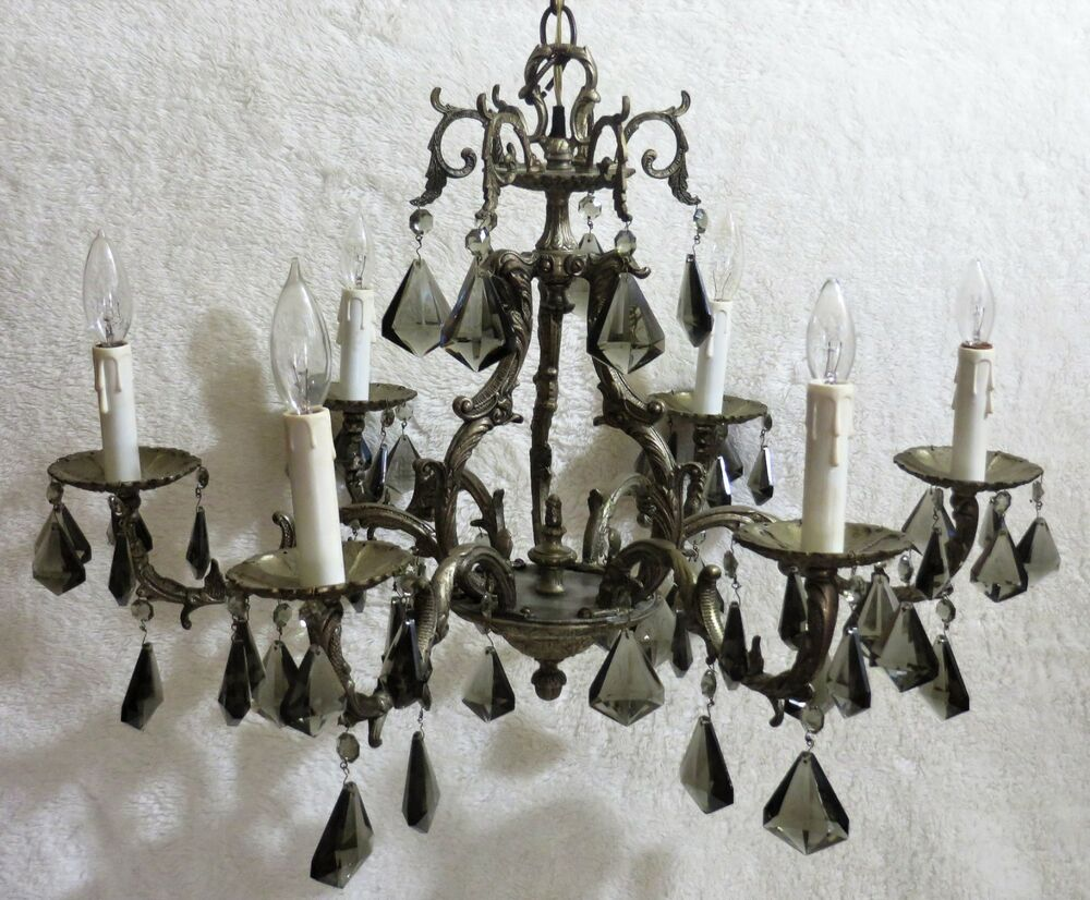 Details About Antique European Silver Plated Chandelier W Black Crystal Prisms