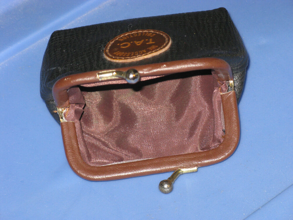 Kiss Lock Snap Frame Closure In Leather Coin Change Purse