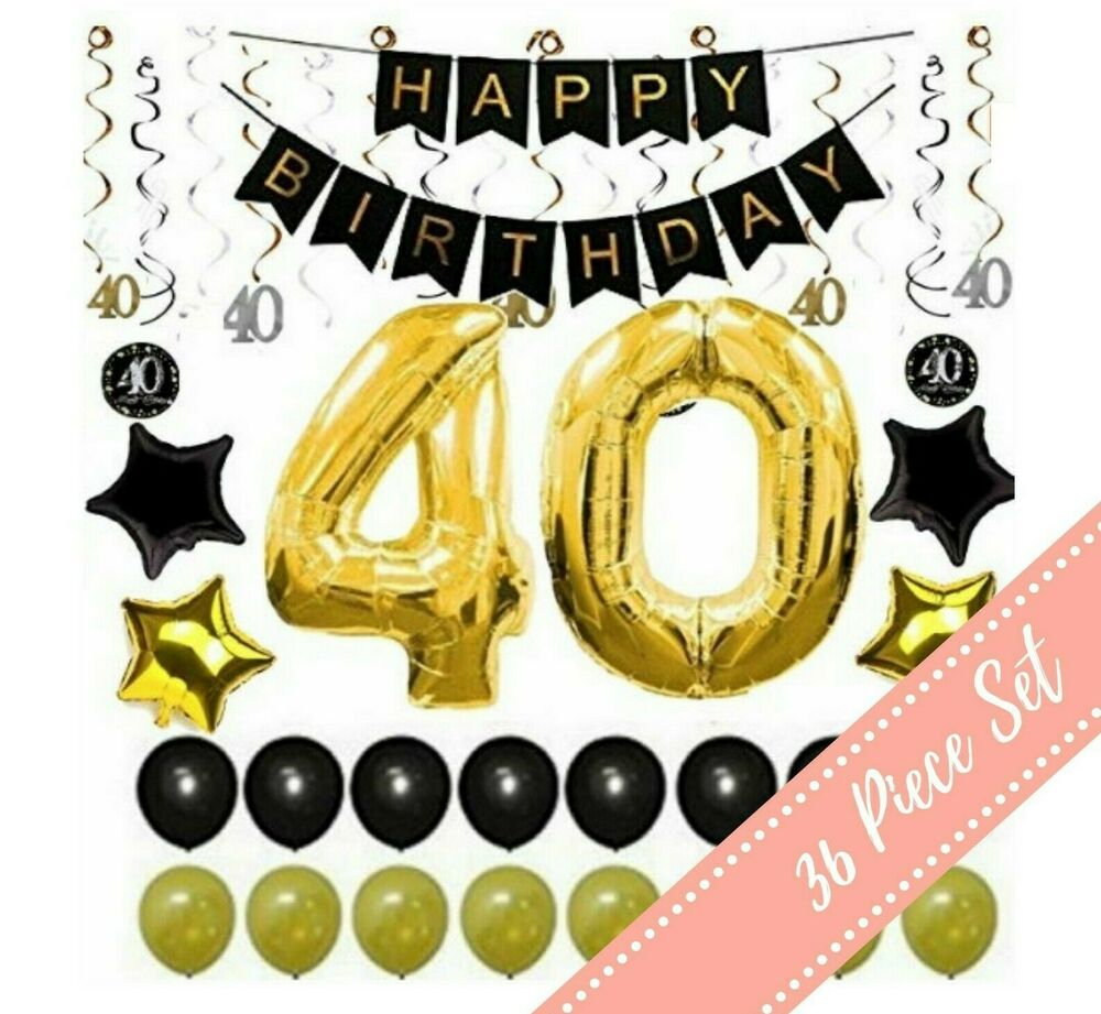 Details About 36Pcs 40th BIRTHDAY PARTY DECORATIONS Balloons Supplies 40 Year Old Man Him Her