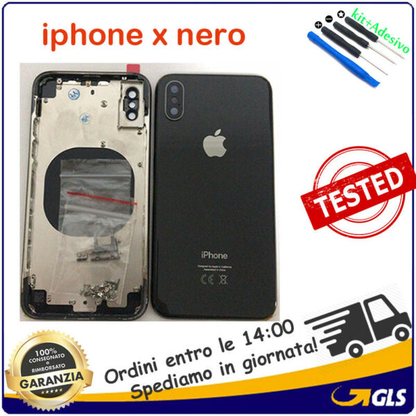 BACK COVER POSTERIORE COPRI BATTERIA SCOCCA APPLE IPHONE X nero opaco 5.8