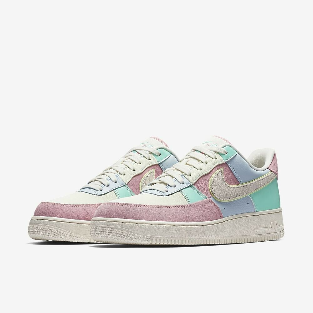 lowest price c8164 29a25 Details about NIKE AIR FORCE 1 07 QS SPRING PATCHWORK  AH8462 400  EASTER  EGG PASTEL SZ 15