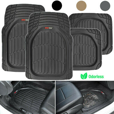 Motor Trend Max Tough Car Rubber Floor Mats Set All Weather Interior Protection