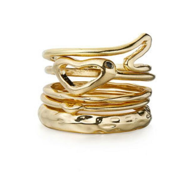 Stackable gold rings - set of 5 - costume jewellery