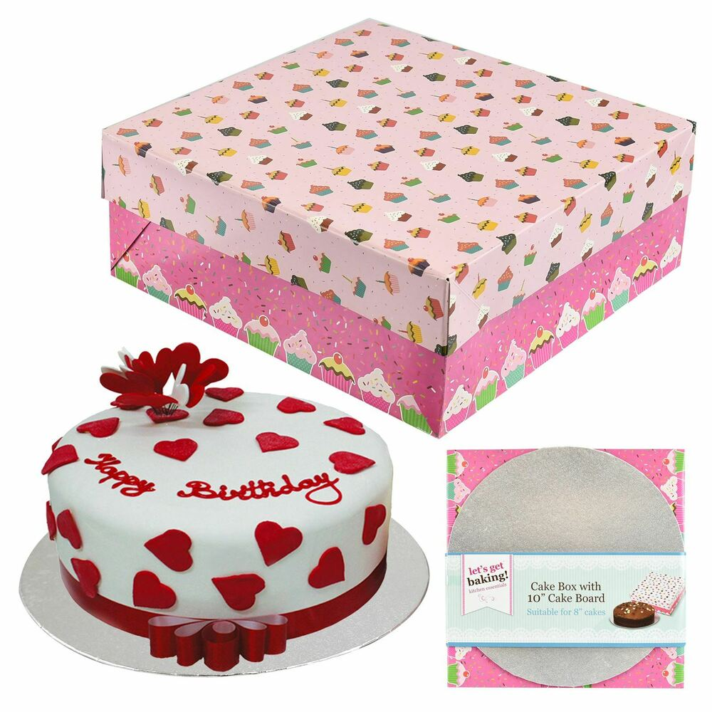 Details About Large Pink Cupcake Design Cake Box 10 Round Board Baking Decoration Accessory