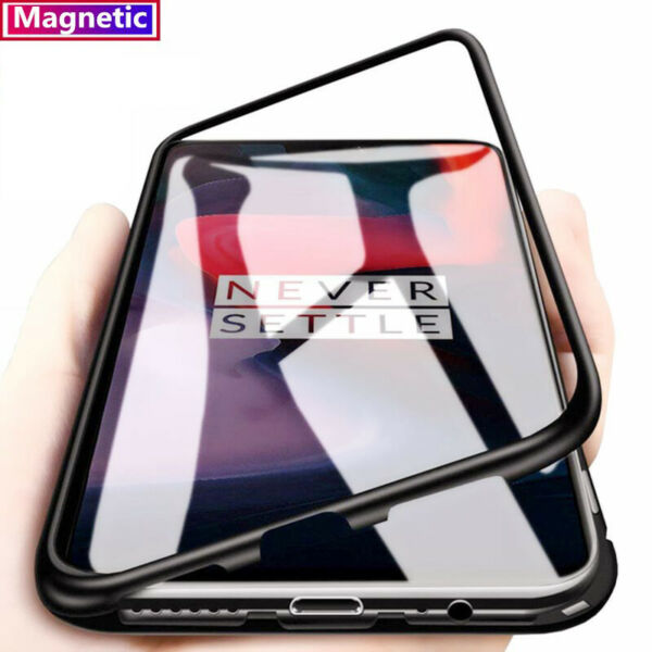 For OnePlus 7 Pro 360° Magnetic Adsorption Metal Tempered Glass Back Case Cover