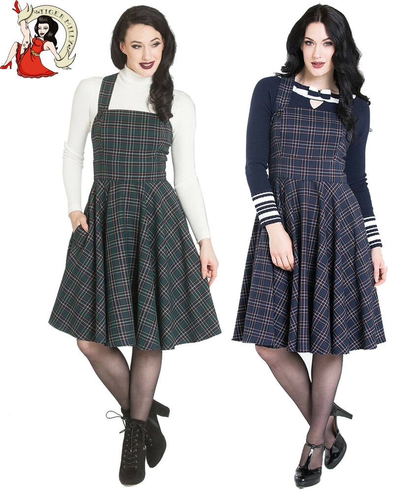 641a7fdb3fbf Details about HELL BUNNY PEEBLES pebbles vintage style GREEN TARTAN check PINAFORE  DRESS
