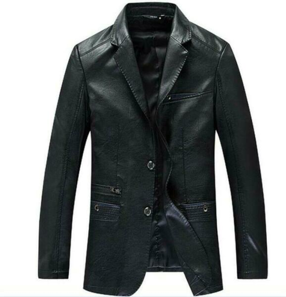 Mens Real Leather Formal Dress Coat Leather Blazers Casual Jackets Coats Size 4X