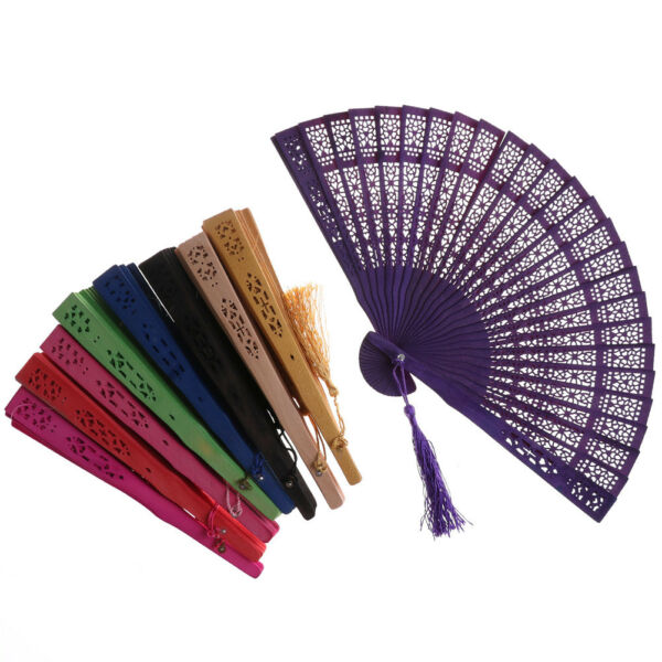 Wedding Hand Fragrant Party Carved Bamboo Folding Fan Chinese Wooden Fans