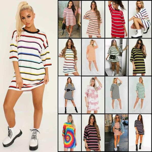Womens Stripe Oversized Boyfriend T Shirt Dress Casual Tee Baggy Loose Long Tops