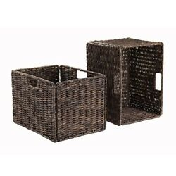 Winsome Granville Foldable 2-Pc Tall Baskets Corn Husk Chocolate 38233 NEW